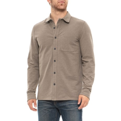 Image of Brushed Knit Twill Shirt - Long Sleeve (For Men)