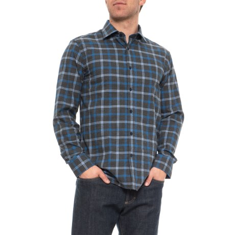 Image of Brushed Windowpane Check Shirt - Long Sleeve (For Men)