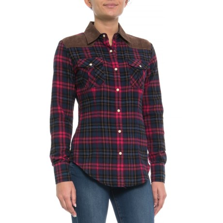 Image of Brushed Yarn-Dyed Twill Plaid Shirt - Snap Front, Long Sleeve (For Women)