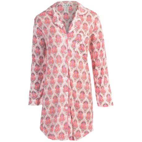 bSoft by Frankie and Johnny Sleep Shirt - Rayon-Cotton, Long Sleeve (For Women) in Sunrise Palace