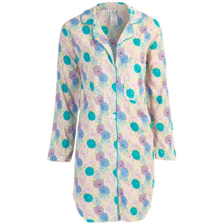 bSoft by Frankie and Johnny Sleep Shirt - Rayon-Cotton, Long Sleeve (For Women) in Tuscan Bloom