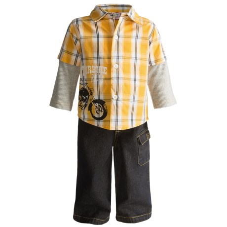 BT Kids 2Fer Shirt and Denim Pants Set - Long Sleeve (For Infant and Toddler Boys) in Gold