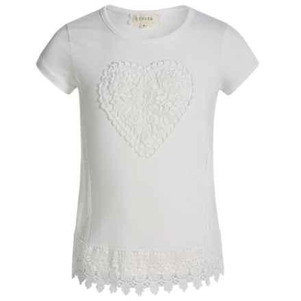 Btween Crochet-Detail Fashion T-Shirt - Short Sleeve (For Big Girls) in Ivory - Closeouts