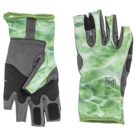 Buff Angler 3 Gloves - UPF 50+ (For Men) in Camo Green - Closeouts