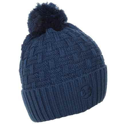 Buff Knit Pompom Hat (For Men and Women) in Airon Blue - Closeouts