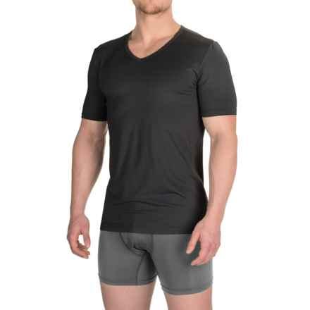 Buffalo David Bitton Microfiber V-Neck T-Shirt - Short Sleeve (For Men) in Black - Closeouts