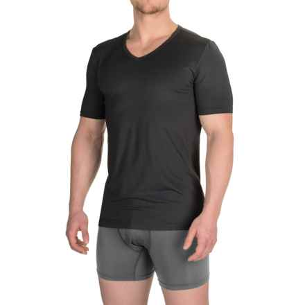 Buffalo David Bitton Microfiber V-Neck T-Shirt - Short Sleeve (For Men) in Black - Closeouts