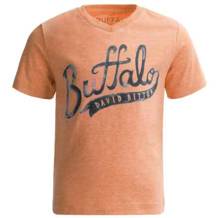 Buffalo David Bitton Pina T-Shirt - V-Neck, Short Sleeve (For Little Boys) in Mandarin Orange Heather - Closeouts