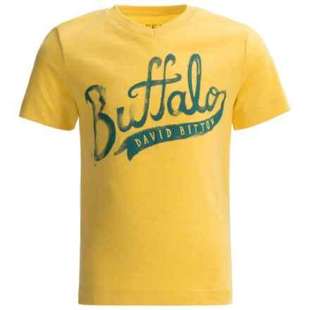 Buffalo David Bitton Pina T-Shirt - V-Neck, Short Sleeve (For Little Boys) in Super Lemon Heather - Closeouts