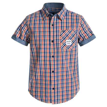 Buffalo David Bitton Salevi Shirt - Short Sleeve (For Big Boys) in Orange Sun - Closeouts