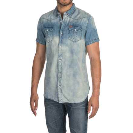 Buffalo David Bitton Samuele Shirt - Short Sleeve (For Men) in Light Blue Denim - Closeouts
