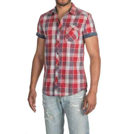 Buffalo David Bitton Sanders Shirt - Short Sleeve (For Men) in Ruby/ Navy Plaid - Closeouts