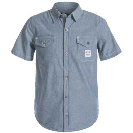 Buffalo David Bitton Sapro Shirt - Short Sleeve (For Big Boys) in Indigo - Closeouts