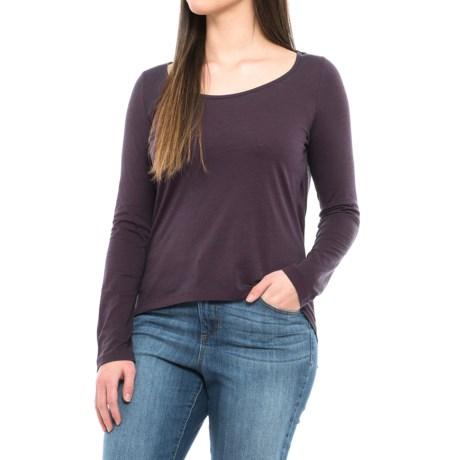 Buffalo David Bitton Scoop Neck T-Shirt - Long Sleeve (For Women) in Purple