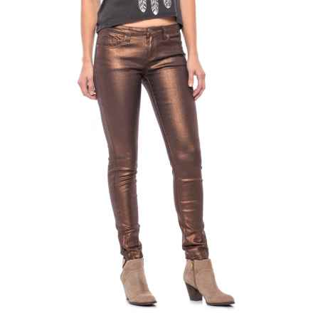 Buffalo Shimmer Skinny Jeans - Ankle Zips (For Women) in Brown - Closeouts