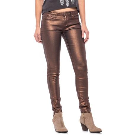 Buffalo Shimmer Skinny Jeans - Ankle Zips (For Women) in Copper Coated