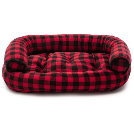 Image of Buffy Plaid Round Bolster Couch Dog Bed - 48x36?