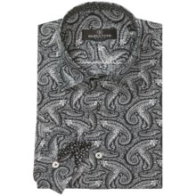 Bugatchi Uomo Cotton Sport Shirt - Long Sleeve (For Men) in Black/White Paisley - Closeouts