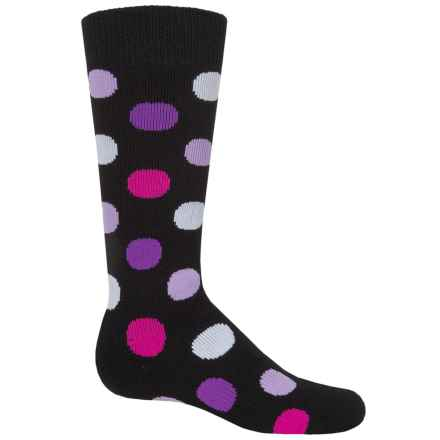 Bula Thermal 200 Dot Ski Socks - Merino Wool Blend, Over the Calf (For Little and Big Kids) in Black - Closeouts