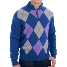 Bullock & Jones Argyle Cashmere Sweater - Zip Neck (For Men) in Blue - Closeouts