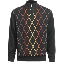 Bullock & Jones Argyle Sweater - Zip Neck, Cotton-Cashmere-Wool (For Men) in Black - Closeouts