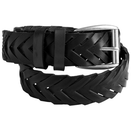 Bullock & Jones Chevron Belt - Leather (For Men) in Black