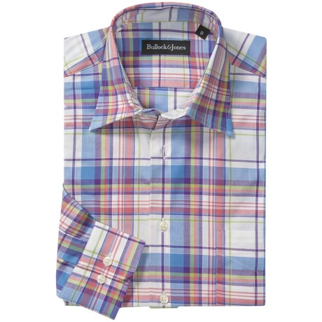Bullock & Jones Cotton Plaid Shirt - Spread Collar, Long Sleeve (For Men) in Blue/Pink