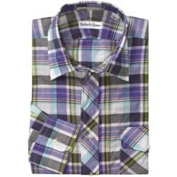 Bullock & Jones Cotton Plaid Shirt - Spread Collar, Long Sleeve (For Men) in White/Purple/Charcoal
