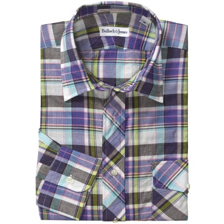 Bullock & Jones Cotton Plaid Shirt - Spread Collar, Long Sleeve (For Men) in White/Purple/Charcoal