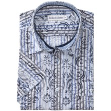 Bullock & Jones Cotton Shirt - Short Sleeve (For Men) in Blue Floral Contrast - Closeouts