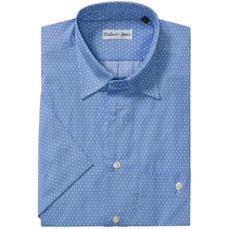 Bullock & Jones Cotton Shirt - Short Sleeve (For Men) in Light Blue Mini Dot
