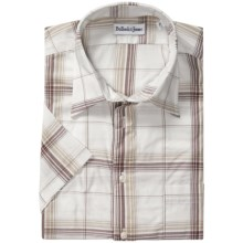 Bullock & Jones Cotton Shirt - Short Sleeve (For Men) in White/Tan Plaid - Closeouts