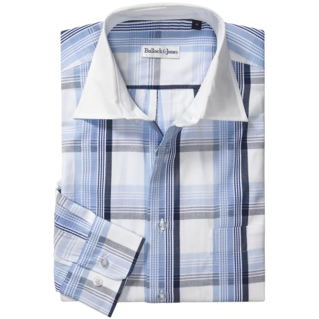 Bullock & Jones Cotton Windowpane Shirt - Long Sleeve (For Men) in White/Blue
