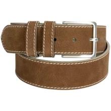Bullock & Jones Edge Stitched Belt - Italian Leather (For Men) in Brown - Closeouts