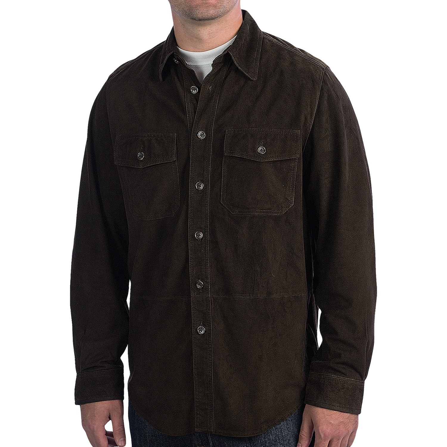 Bullock Jones Goat Suede Shirt Jacket For Men