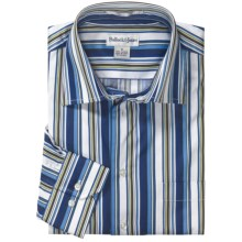 Bullock & Jones Modern Bar Stripe Shirt - Long Sleeve (For Men) in Blue/White/Green - Closeouts