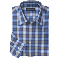 Bullock & Jones Pindot Plaid Sport Shirt - Long Sleeve (For Men) in Blue/Brown/White