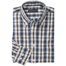 Bullock & Jones Redwood Forest Shirt - Long Sleeve (For Men) in Navy/Brown/White - Closeouts