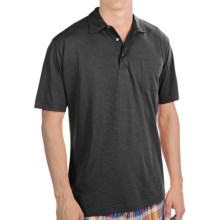 Bullock & Jones Satin Washed Pima Cotton Polo Shirt - Short Sleeve (For Men) in Black - Closeouts