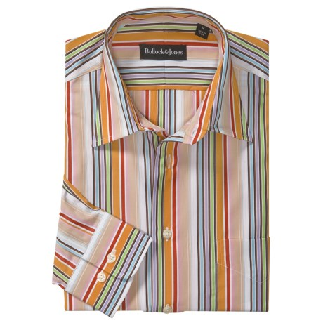 Bullock & Jones Stripe Shirt - Long Sleeve (For Men) in Pink/Orange/Red