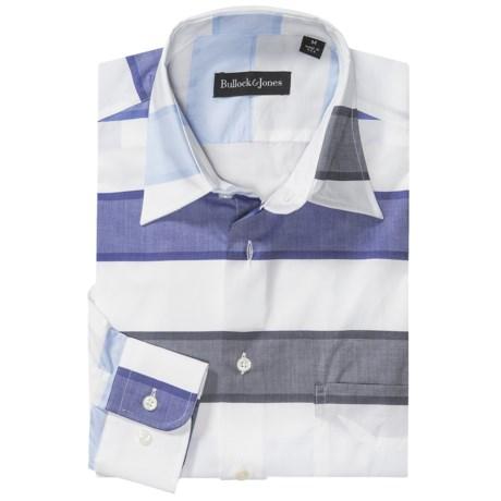 Bullock & Jones Stripe Spread Collar Sport Shirt - Long Sleeve (For Men) in Blue Stripe