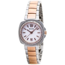 Bulova Diamond Two-Tone Watch - Stainless Steel Band (For Women) in Rose Gold/Stainless - Closeouts