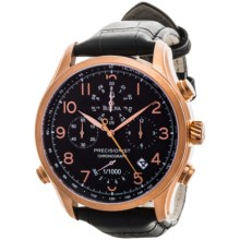 Bulova Precisionist Quartz Watch - Leather Strap (For Men) in Black/Rose Gold/Black - Closeouts