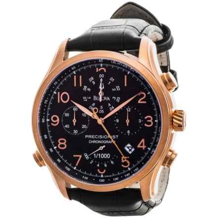Bulova Precisionist Quartz Watch - Leather Strap (For Men) in Black/Rose Gold/Black - Closeouts