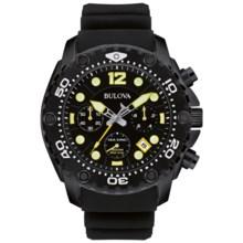 Bulova Sea King Chronograph UHF Watch - Rubber Strap (For Men) in Black/Black - Closeouts