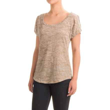 Burnout Foil T-Shirt - Scoop Neck, Short Sleeve (For Women) in Brown - 2nds