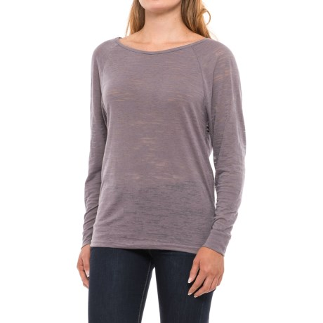 Burnout Round Neck Shirt - Long Sleeve (For Women) in Dark Grey
