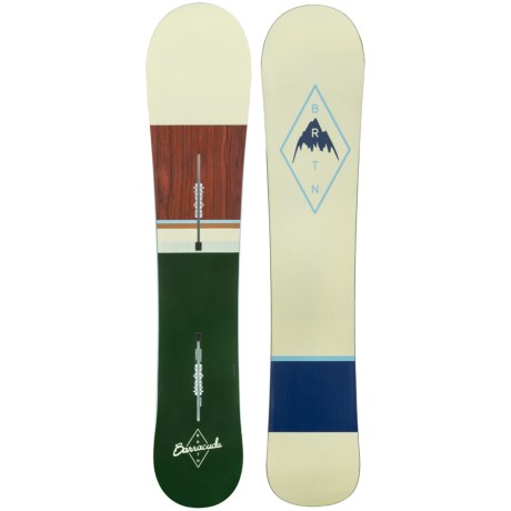 Burton Barracuda Snowboard in 153 Dark Green/Natural/Wood/Natural/Light Blue