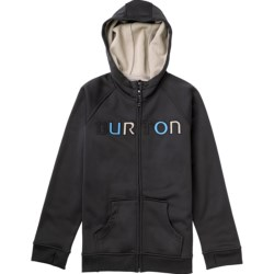 Burton Bonded Fleece Hoodie- Full Zip (For Boys) in True Black W/Blue
