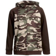 Burton Bonded Fleece Hoodie Sweatshirt - Full Zip (For Boys) in Trooper Camo - Closeouts